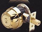 Master Dial Combination Deadbolt. (Shown in Brass)